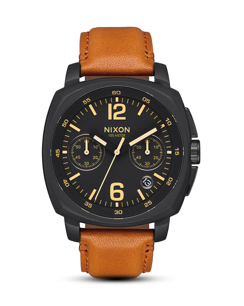 NIXON, Chronograph Charger Leather A1073 2447 00 All Black / Light Brown