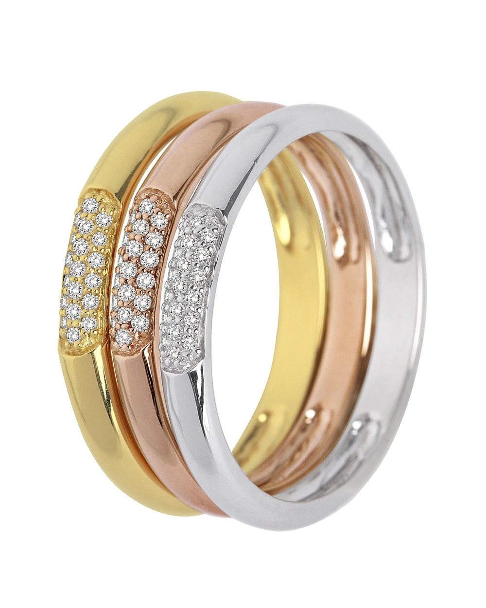 VALERIA, Ring aus 375 Tricolor Gold mit 0 18 Karat Diamanten 52