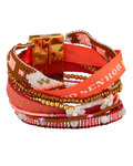 Armband Chance aus Kunstperlen & Stoff HIPANEMA gold,orange,pink Kein Schmuckstein 3700839113441