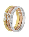 Ring aus 375 Tricolor-Gold mit 0.18 Karat Diamanten VALERIA