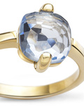 Ring aus 375 Gold  VALERIA blau,gold Quarz