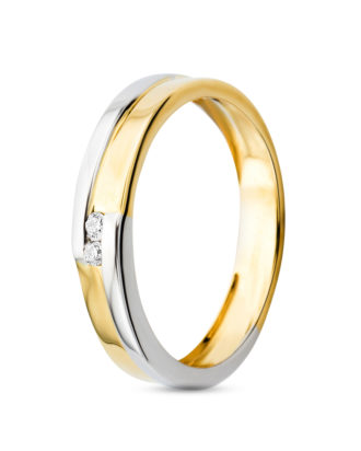 Ring aus 585 Bicolor-Gold mit Diamanten