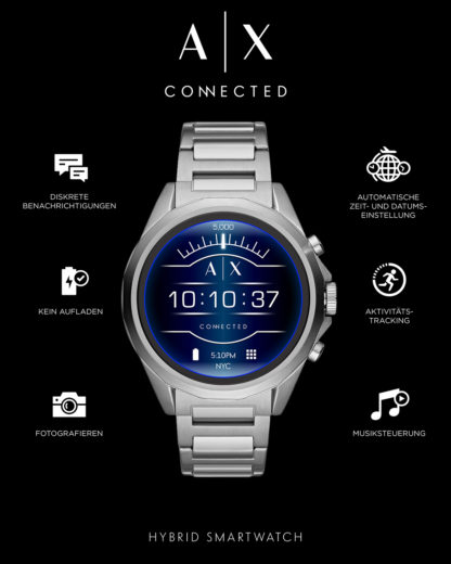 Smartwatch AXT2000 ARMANI EXCHANGE CONNECTED silber 4013496056396