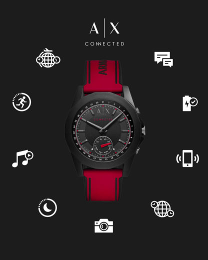 Hybrid-Smartwatch AXT1005 ARMANI EXCHANGE CONNECTED rot,schwarz 4053858899728