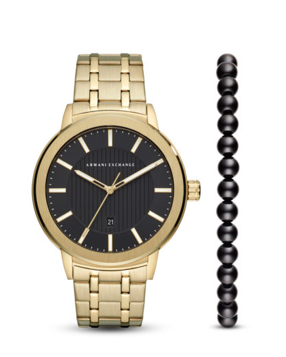 Set mit Quarzuhr & Armband AX7108 ARMANI EXCHANGE Gold 4013496070378