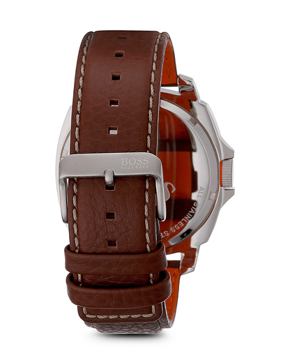 Quarzuhr BRISBANE 1513097 braun BOSS Orange Herren Leder 7613272143455