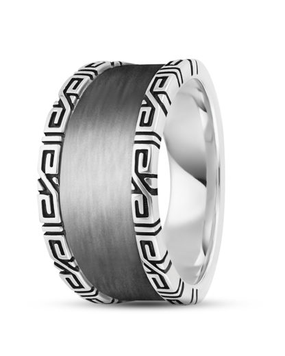Ring Black Meander aus 925 Sterling Silber caï