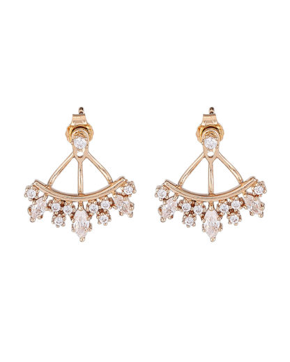 Ohrstecker Ear Jackets Crown Drop Gold legiert mit Zirkonia Clashd Jewelry 764831611735