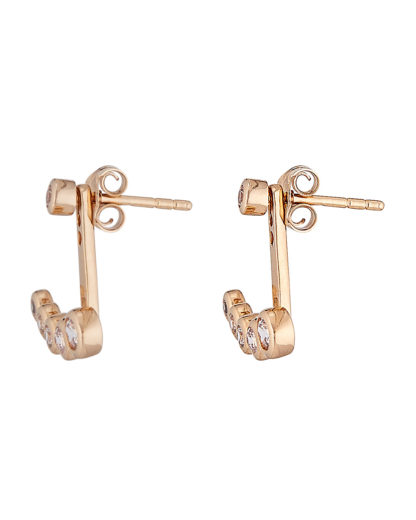 Ohrstecker Ear Jackets Crystal Drop Gold legiert mit Zirkonia Clashd Jewelry gold,weiß Zirkonia 764831611742