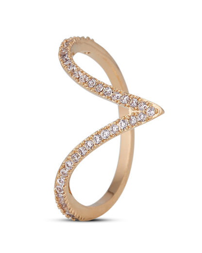 Ring Crystal Arrow Gold legiert mit Zirkonia Clashd Jewelry
