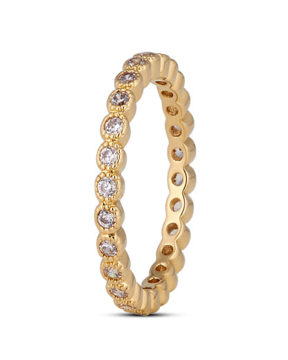 Ring Crystal Dotted Gold legiert mit Zirkonia Clashd Jewelry