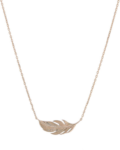 Halskette Sideway Feather Gold legiert Clashd Jewelry 764831613098