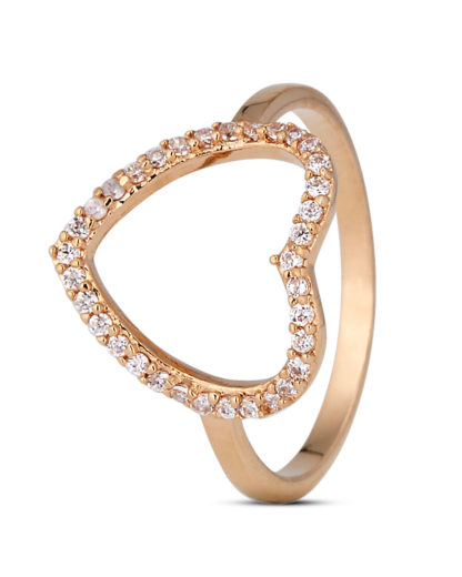 Ring Big Crystal Heart Gold legiert mit Zirkonia Clashd Jewelry