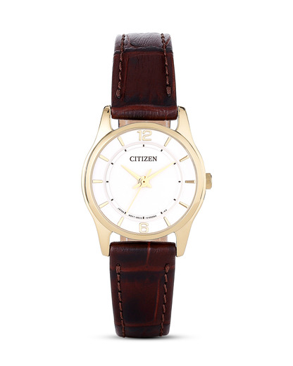 Quarzuhr Basic ER0182-08A CITIZEN braun,gold,weiß 4974374212900