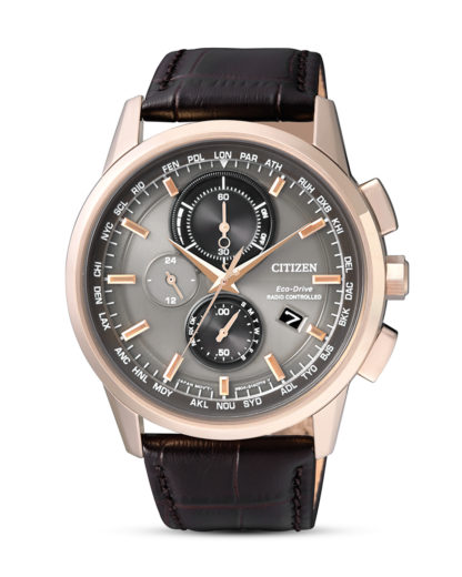 Funksolaruhr Eco-Drive AT8113-12H CITIZEN braun,grau,roségold 4974374249951
