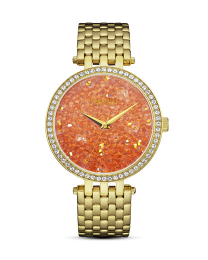 Quarzuhr Crystal Rock 44L229 CARAVELLE NEW YORK gold,orange 7613077541685