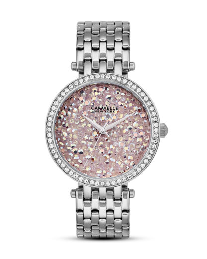 Quarzuhr Crystal Rock 43L194 CARAVELLE NEW YORK pink,silber,weiß 7613077538432