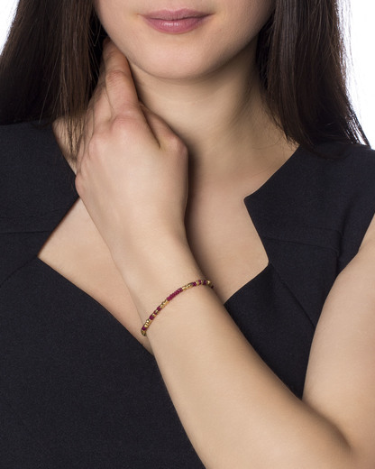 Armband 925 Sterling Silber Catherine Weitzman gold,rot Rubin 4250945510355