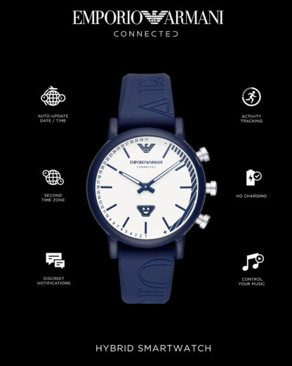 Hybrid-Smartwatch ART3023 EMPORIO ARMANI CONNECTED blau,weiß 4051432353857