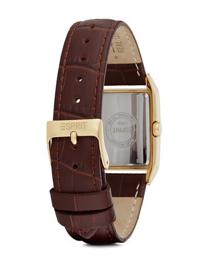 Quarzuhr Time Fundamental Gold Brown ES000EO2001 Esprit Damen Leder 4891945072377