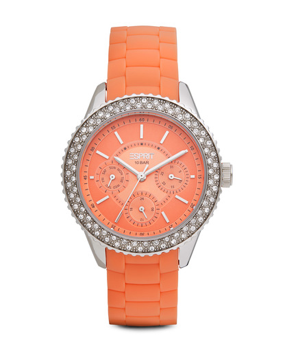 Quarzuhr Time Marin Marin Glints Speed Coral ES106222004 Esprit orange,silber 4891945165963