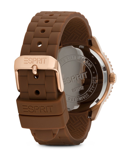 Quarzuhr Time Marin Marin Glints Brown ES106212008 Esprit Damen Silikon 4891945165925