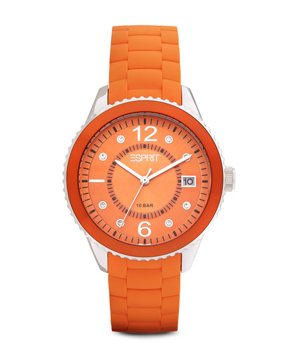 Quarzuhr Time Marin Marin 68 Orange ES105342005 Esprit orange,silber 4891945151423