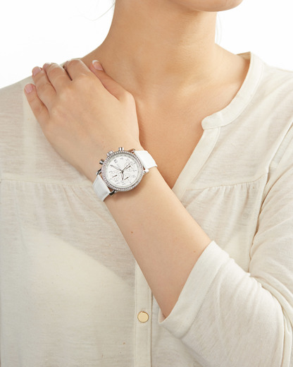 Chronograph Collection Time Pontess White EL900322002 Esprit Collection Damen Leder 4891945113339