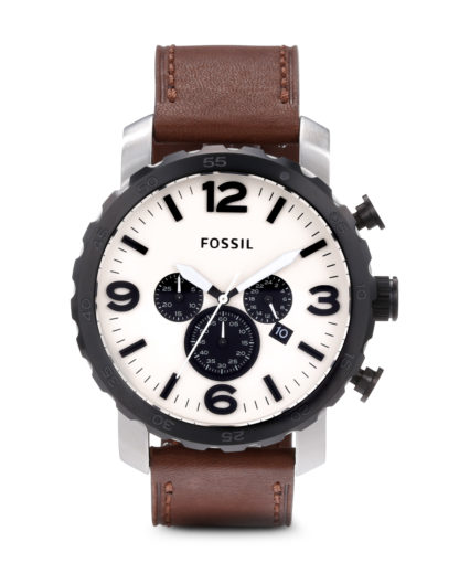 Chronograph Nate JR1390 FOSSIL beige,braun,silber 4051432664915
