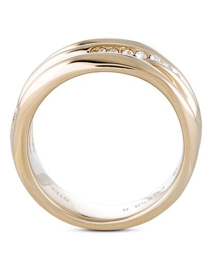 Ring aus Edelstahl FOSSIL Gold Glas