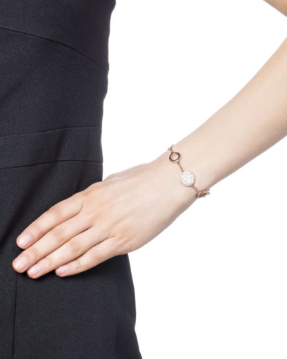 Armband Pearl Disk Station aus Edelstahl & Perlmutt FOSSIL Rosa Glas 4053858416468
