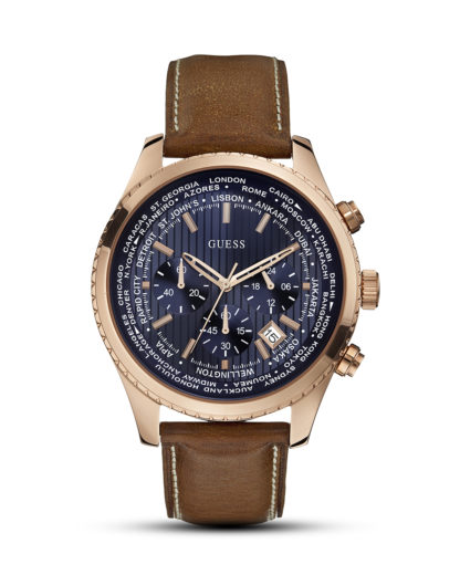 Chronograph Pursuit W0500G1 GUESS blau,braun,roségold 91661441288
