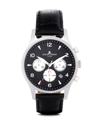 Chronograph London 1-1654A JACQUES LEMANS schwarz 4040662116462