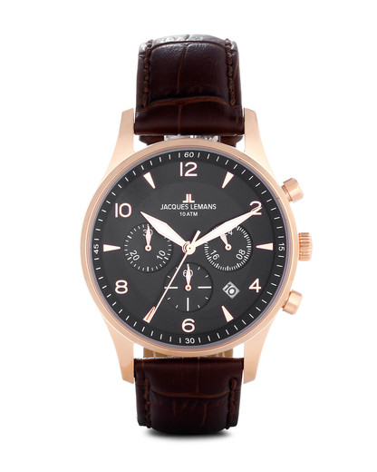 Chronograph London 1-1654G JACQUES LEMANS braun,roségold,schwarz 4040662116523