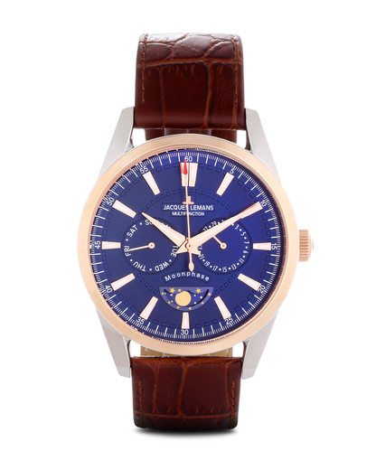 Quarzuhr Moonphase 1-1804D JACQUES LEMANS blau,braun,roségold 4040662119630