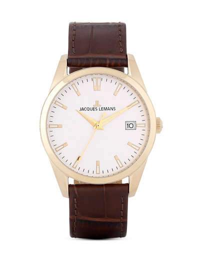 Quarzuhr London 1-1769E JACQUES LEMANS beige,braun,gold 4040662114611