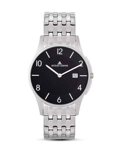 Quarzuhr London 1-1781A JACQUES LEMANS schwarz,silber 4040662116011