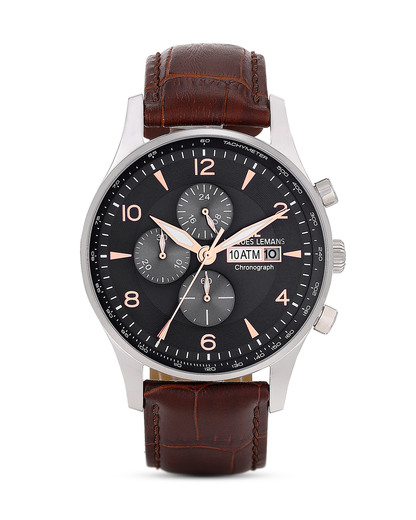 Chronograph London 1-1844D JACQUES LEMANS braun,schwarz,silber 4040662122401