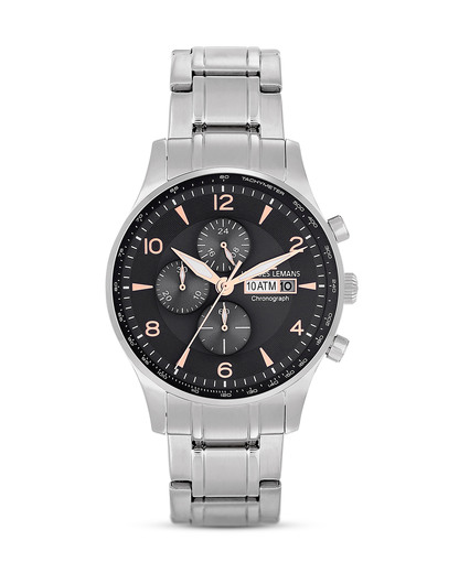 Chronograph London 1-1844K JACQUES LEMANS schwarz,silber 4040662122425