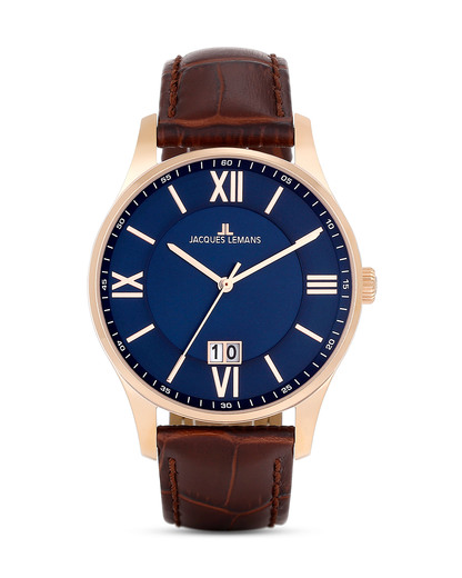 Quarzuhr London 1-1845G JACQUES LEMANS blau,braun,roségold 4040662123422
