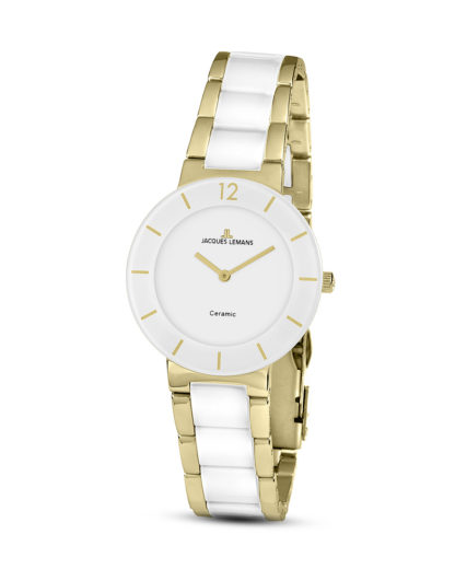 Quarzuhr 42-3F JACQUES LEMANS gold,weiß 4040662133476