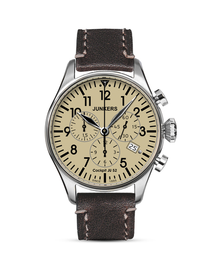 Chronograph Cockpit 61805 Junkers beige,braun,silber 4041338618051