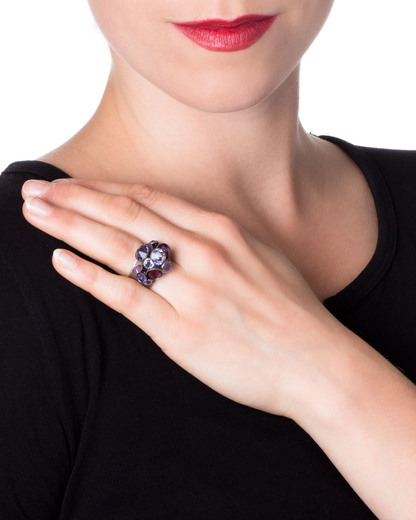 Ring Waterfalls Messing KONPLOTT violett Swarovski-Stein 5450543132099