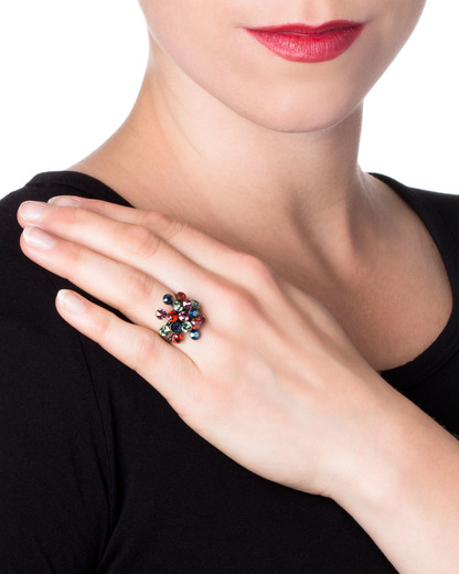 Ring Magic Fireball Messing KONPLOTT mehrfarbig Swarovski-Stein 5450543138398