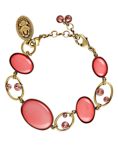 Armband Oval in Concert aus Messing KONPLOTT gold,pink,rosa Glas 5450543279909
