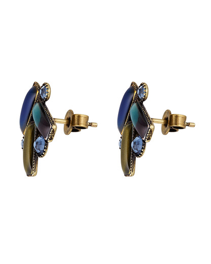 Ohrstecker Small Tones Beating aus Messing KONPLOTT blau,gold,grün Harz,Strass-Stein 5450543315782