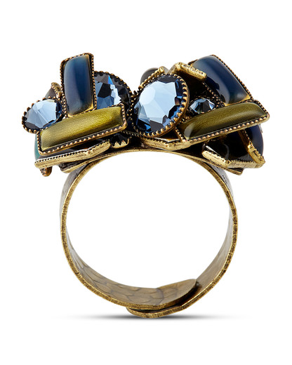 Ring Small Tones Beating mit Strass-Steinen KONPLOTT blau,gold,grün Glas 5450543306315