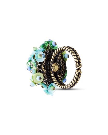 Ring Kaleidoscopic aus Messing KONPLOTT blau,gold,grün  5450543345024