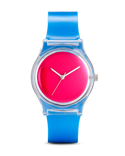 Quarzuhr COLORS 10:52AM May28th blau,klar,pink 4751019810628