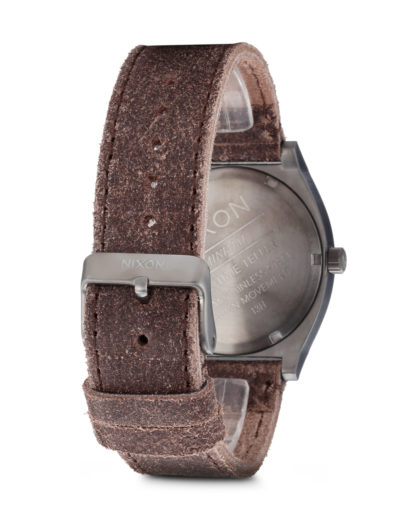 Quarzuhr Time Teller Leather A045 1388-00 Gunmetal / Brown NIXON Damen,Herren Leder 3608700055039